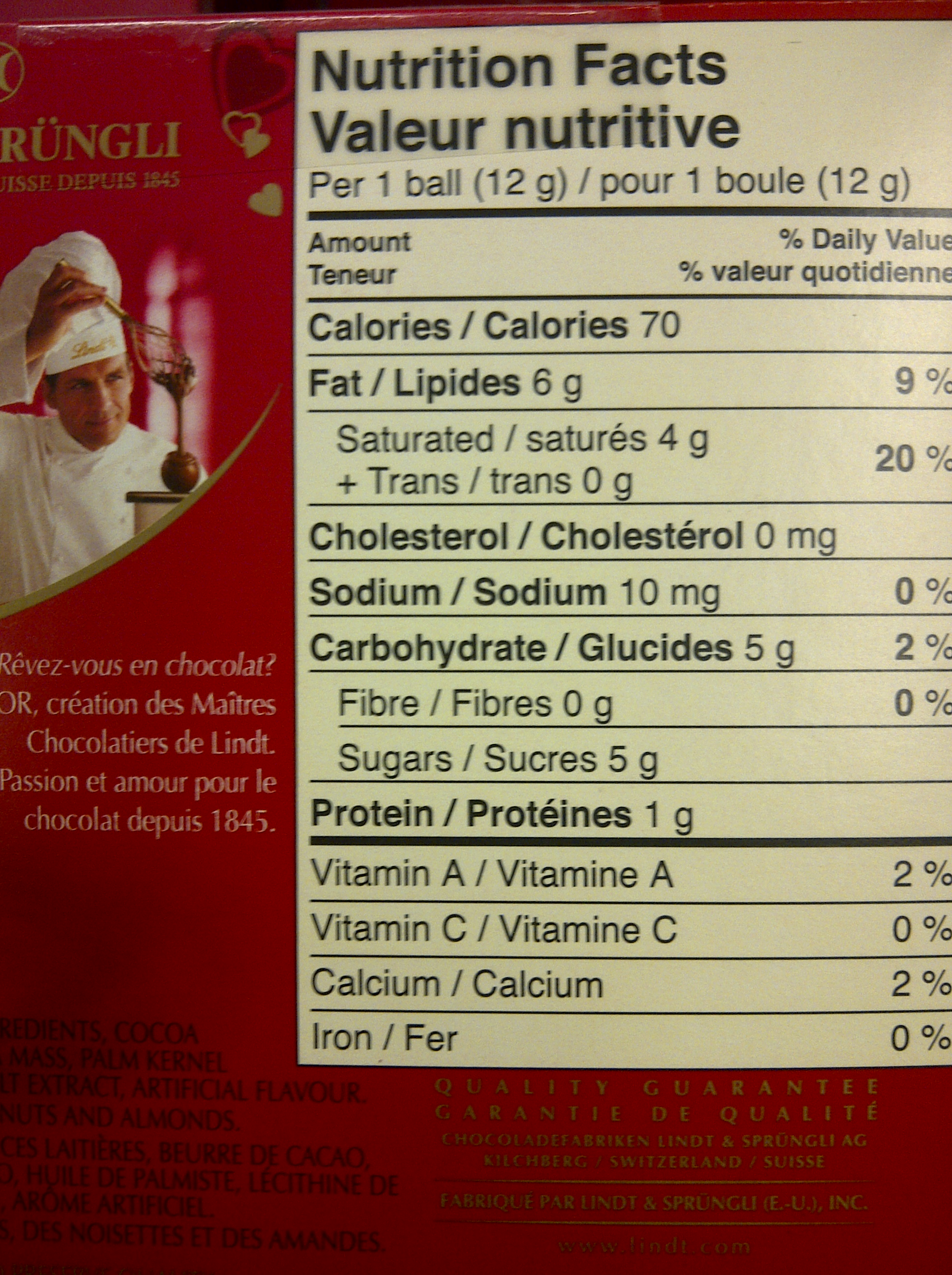 Lindt Milk Chocolate Calories
