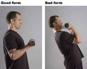 Image result for bicep curl technique good vs bad form